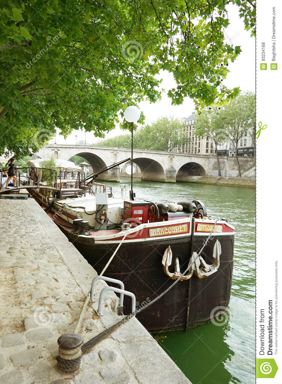restaurant barge seine river paris france editorial stock photo image 93234168. Black Bedroom Furniture Sets. Home Design Ideas