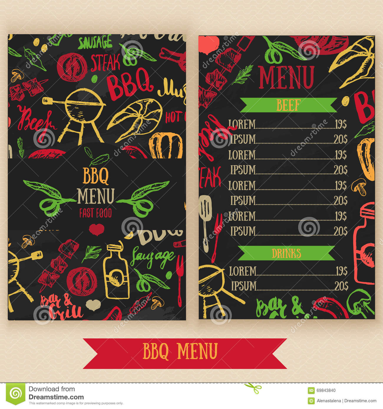 Restaurant bbq menu brochure vector cafe template with