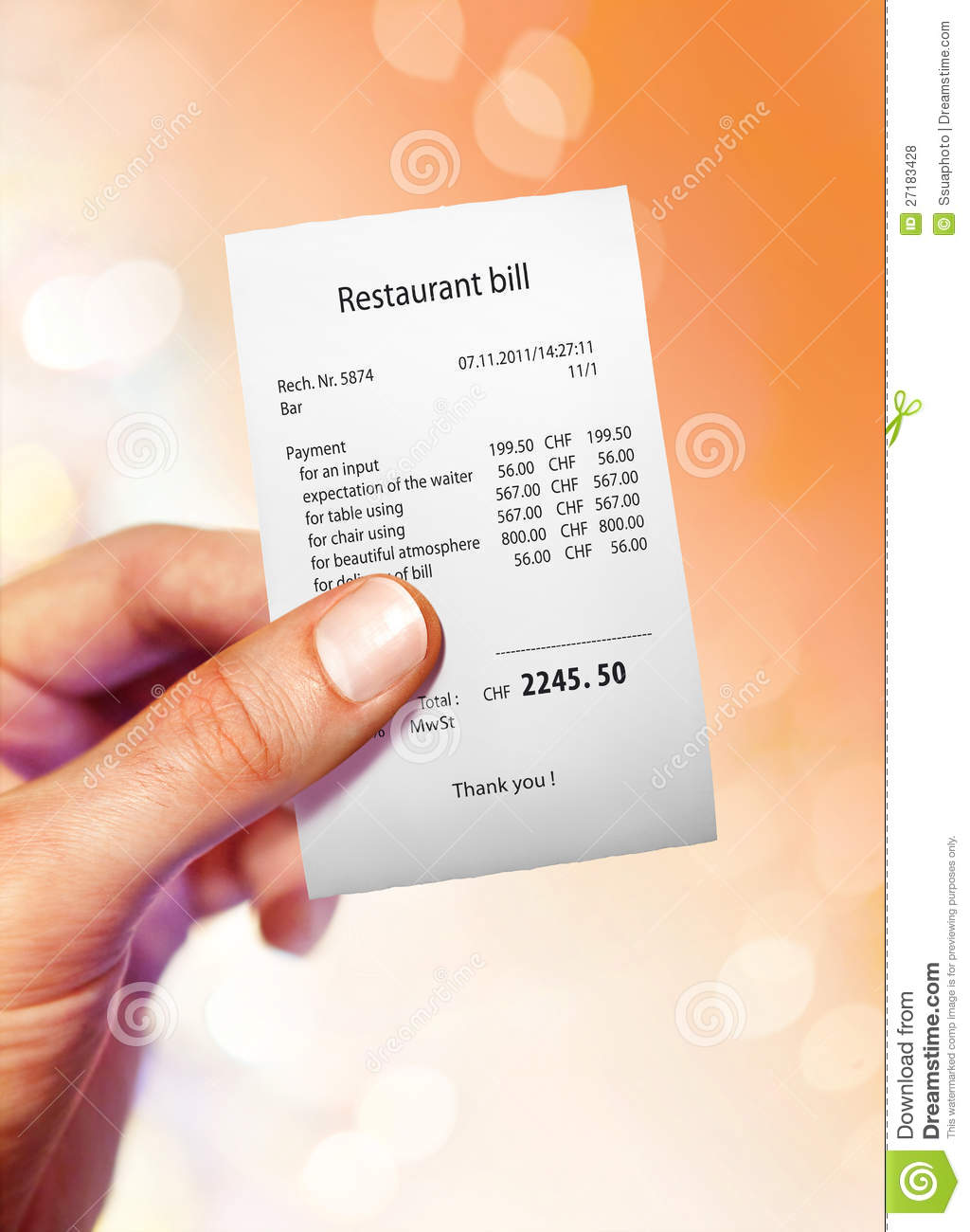 Restaurant Bill Royalty Free Stock Photos Image 27183428