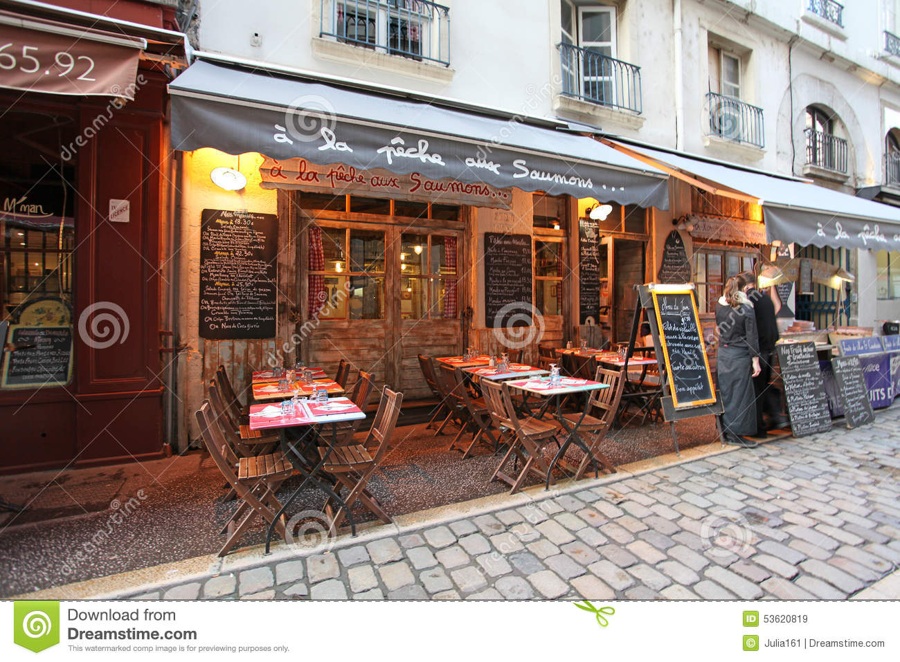 restaurant bouchon in lyon france editorial stock image