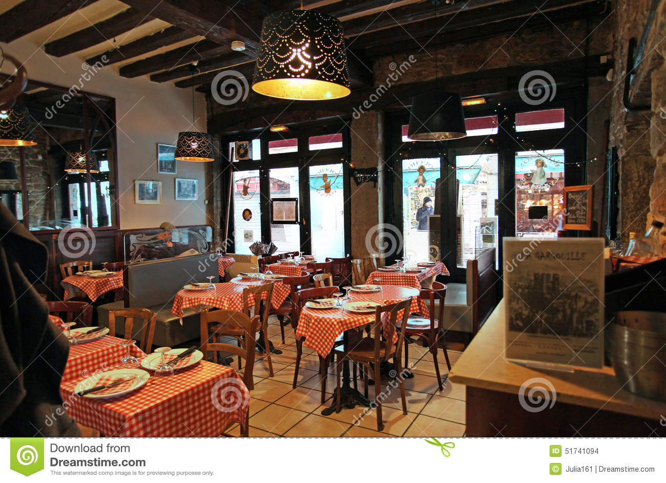 restaurant bouchon in lyon interior france editorial