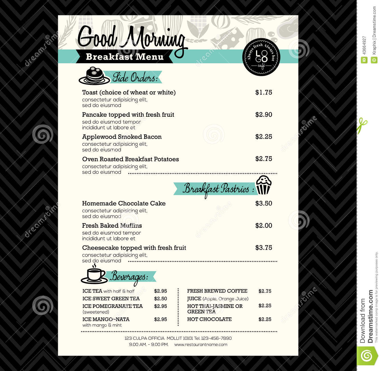 restaurant breakfast menu design template layout stock vector