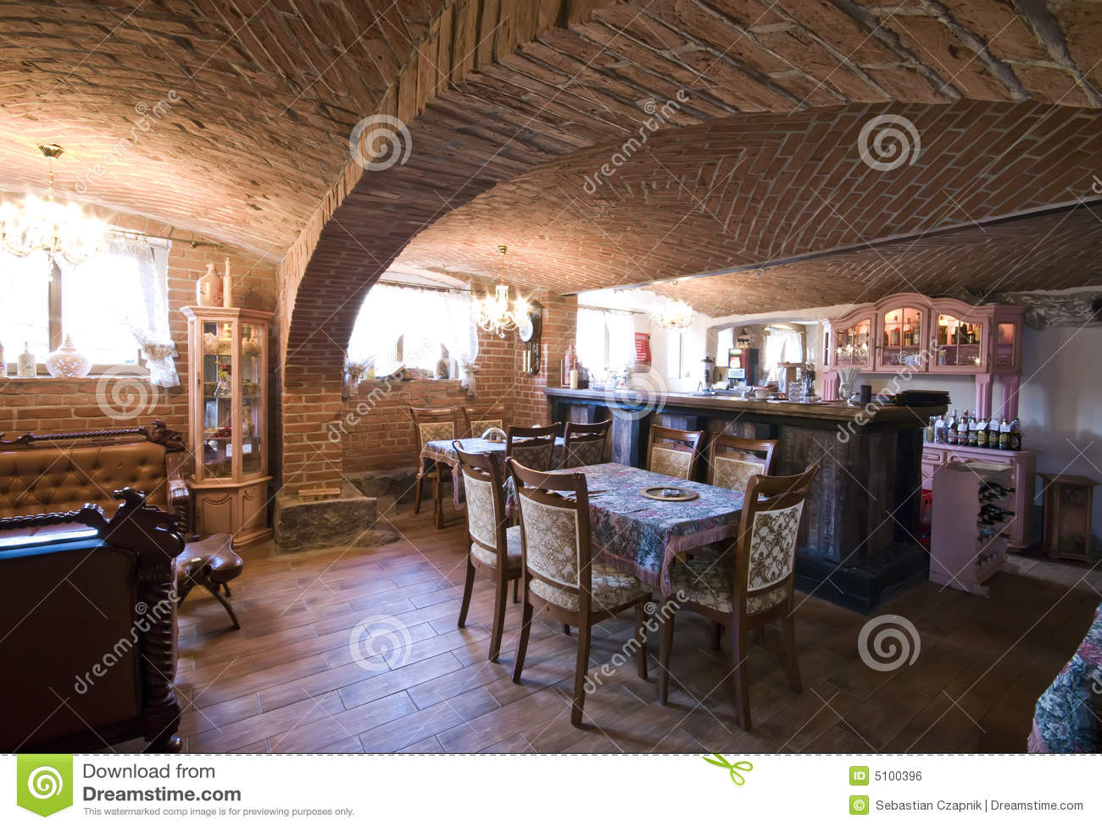 Restaurant In Brick Basement Royalty Free Stock Image
