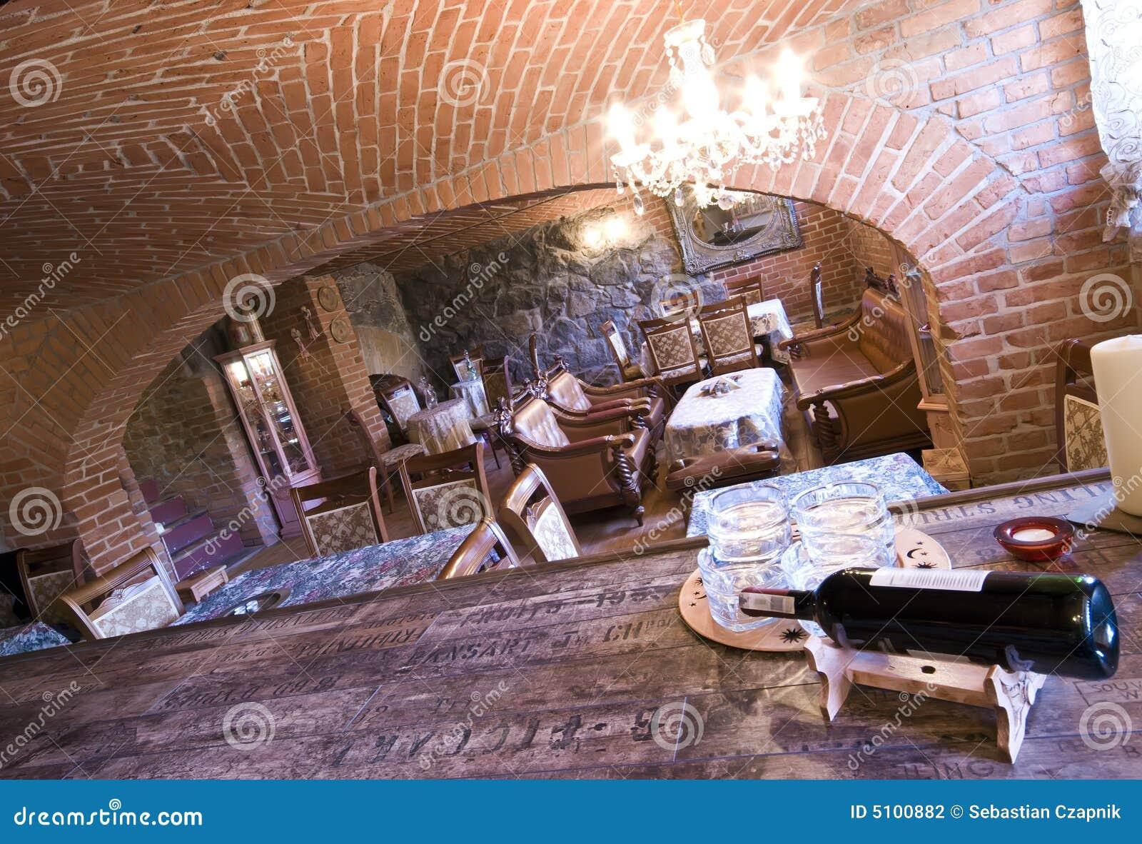 Restaurant In Brick Basement Stock Photography Image  : restaurant brick basement 5100882 from www.dreamstime.com size 1300 x 978 jpeg 238kB
