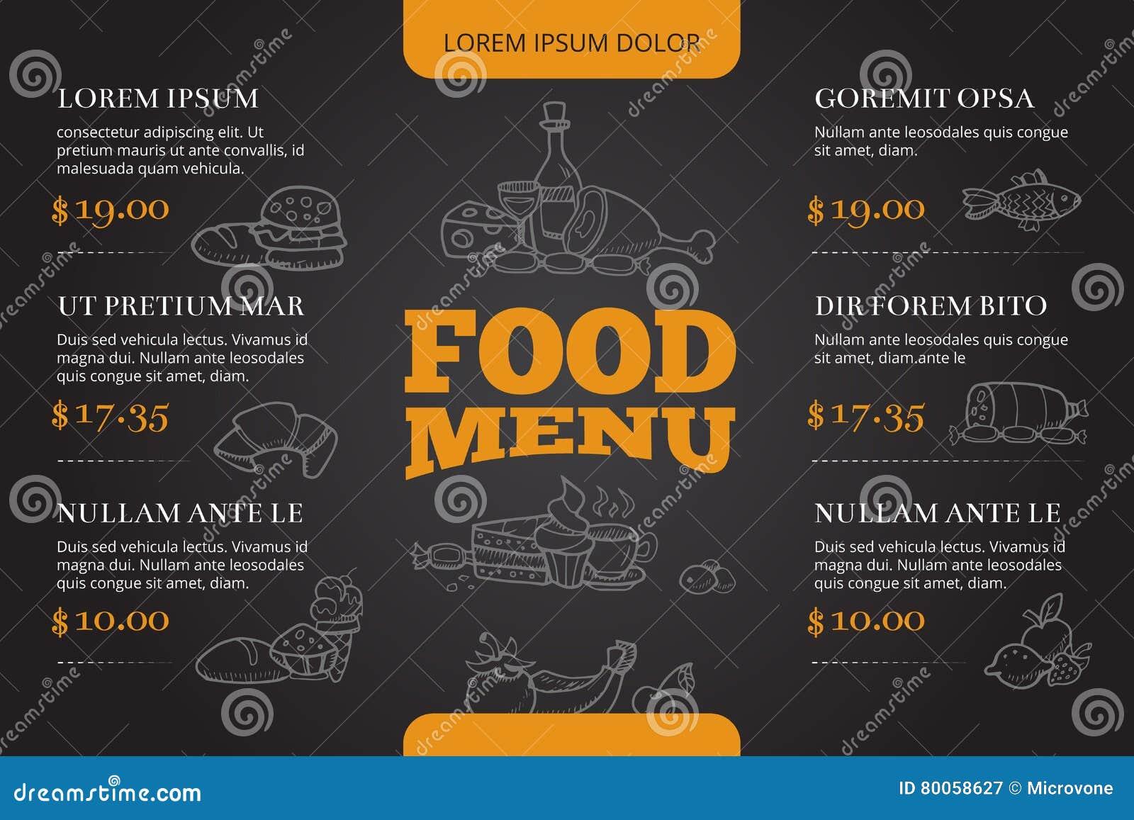 Restaurant brochure menu vector design with hand drawn