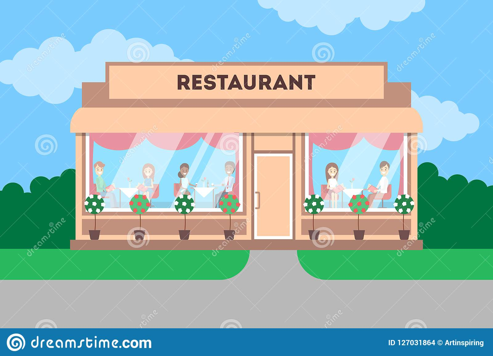 Restaurant Building In The City Cafe Exterior Stock Vector Illustration Of Diner Design 127031864