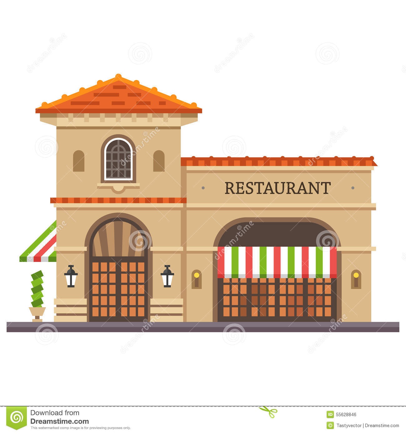 Restaurant Building Italian Pizza And Pasta Food Delivery Stock