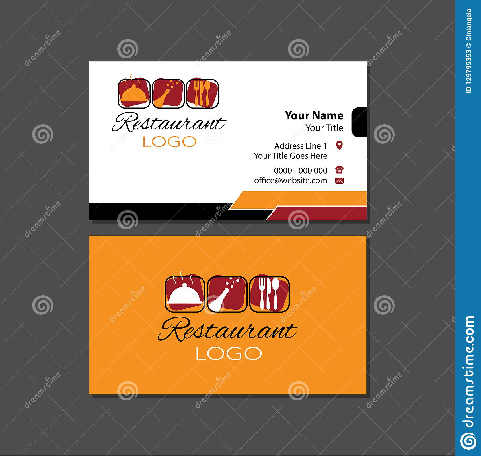 Restaurant Business Card Template Editorial Stock Photo