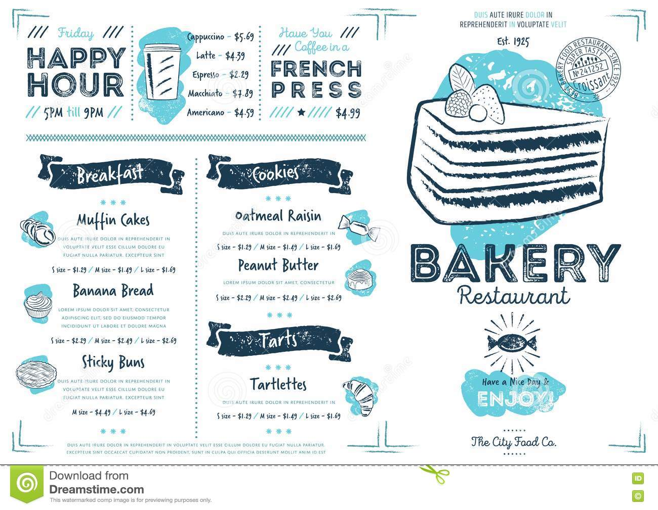 Restaurant Cafe Bakery Menu Template Stock Vector - Image: 74787135
