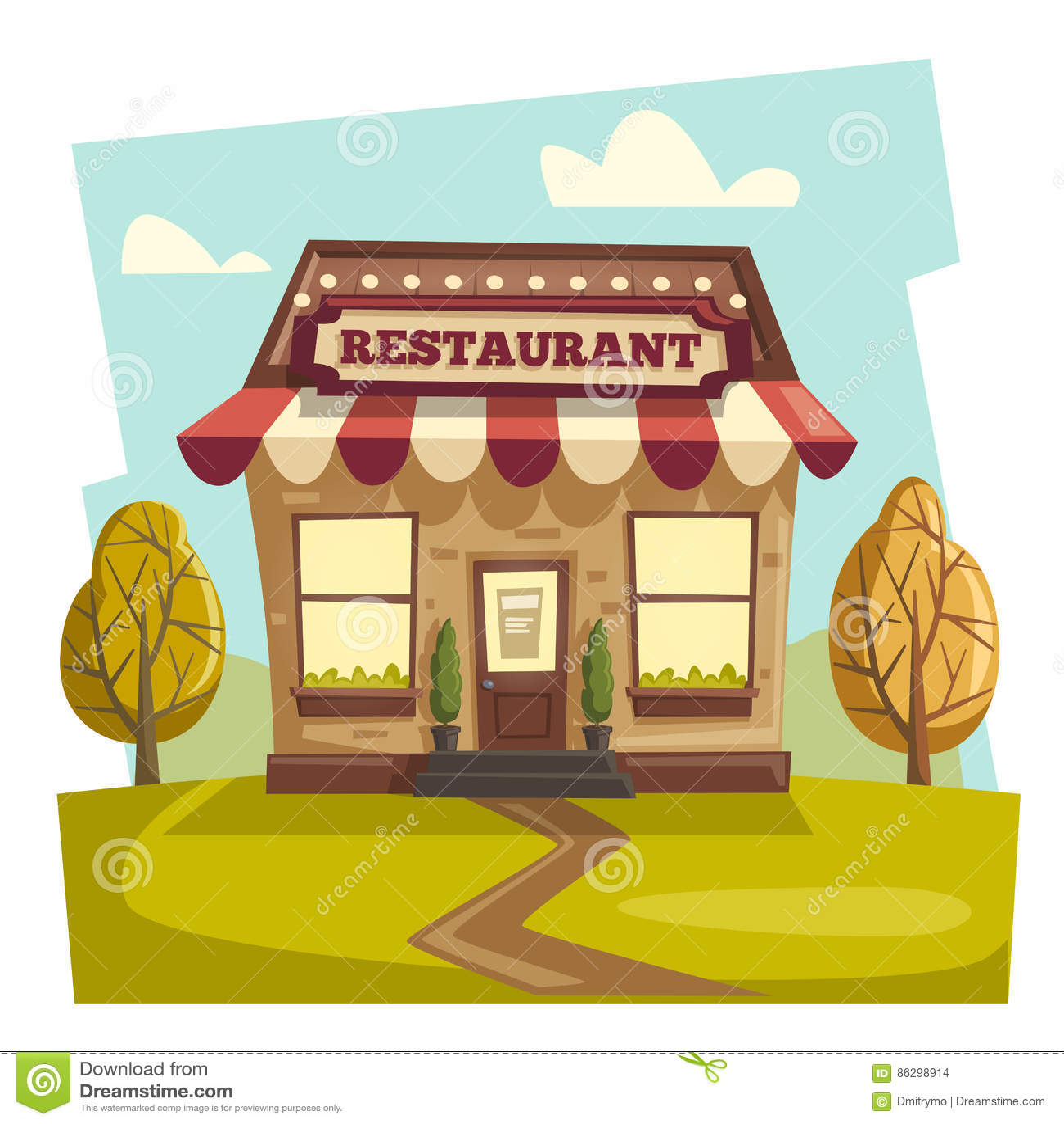 Cartoon restaurant free vector graphic download - Royalty Free Vector Building Cafe Cartoon