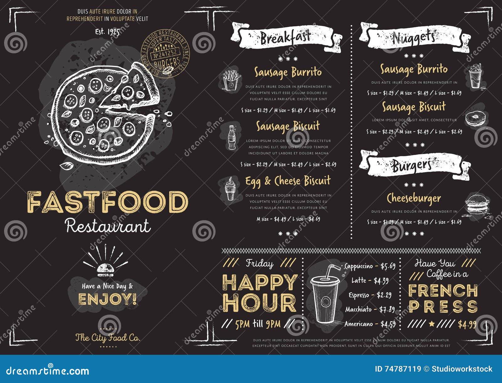 Restaurant Cafe Fast Food Menu Template Stock Vector - Illustration ...