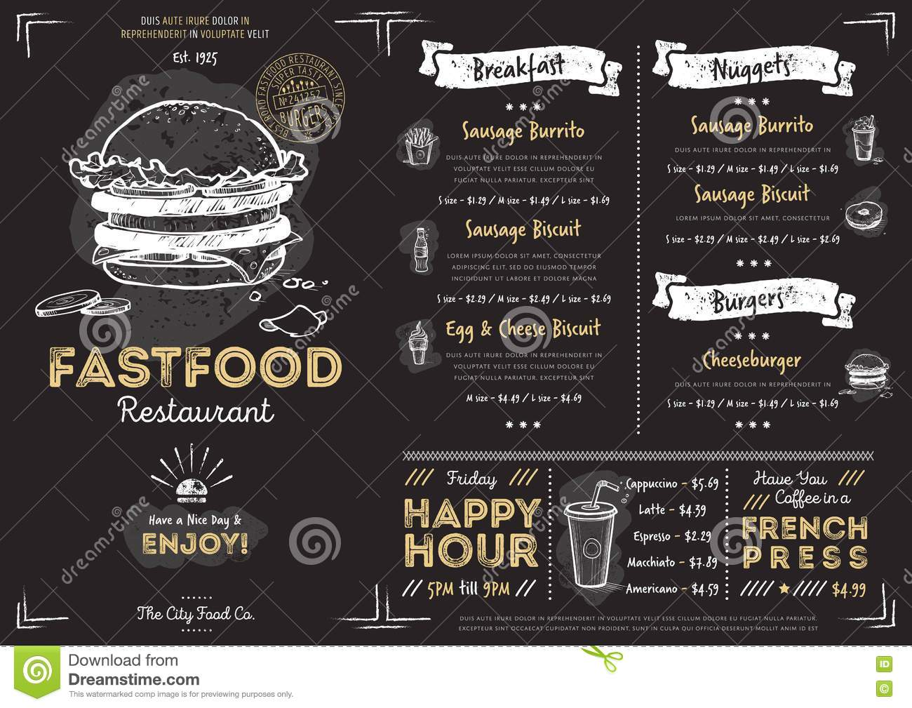 Restaurant Cafe Fast Food Menu Template Stock Vector Illustration Of Fast Drinks 74865958