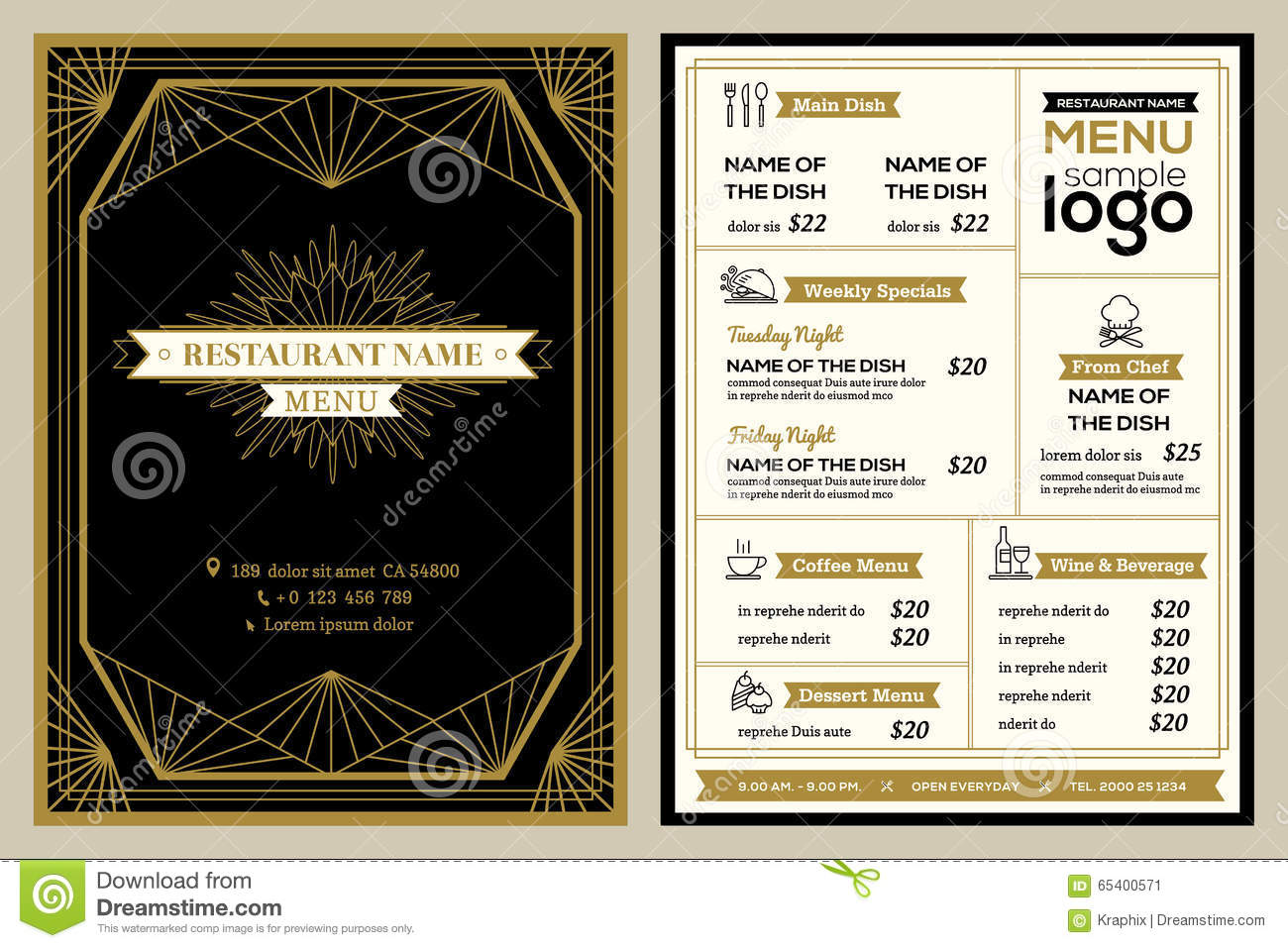 Restaurant Or Cafe Menu Cover Design Template With Vintage Retro ...