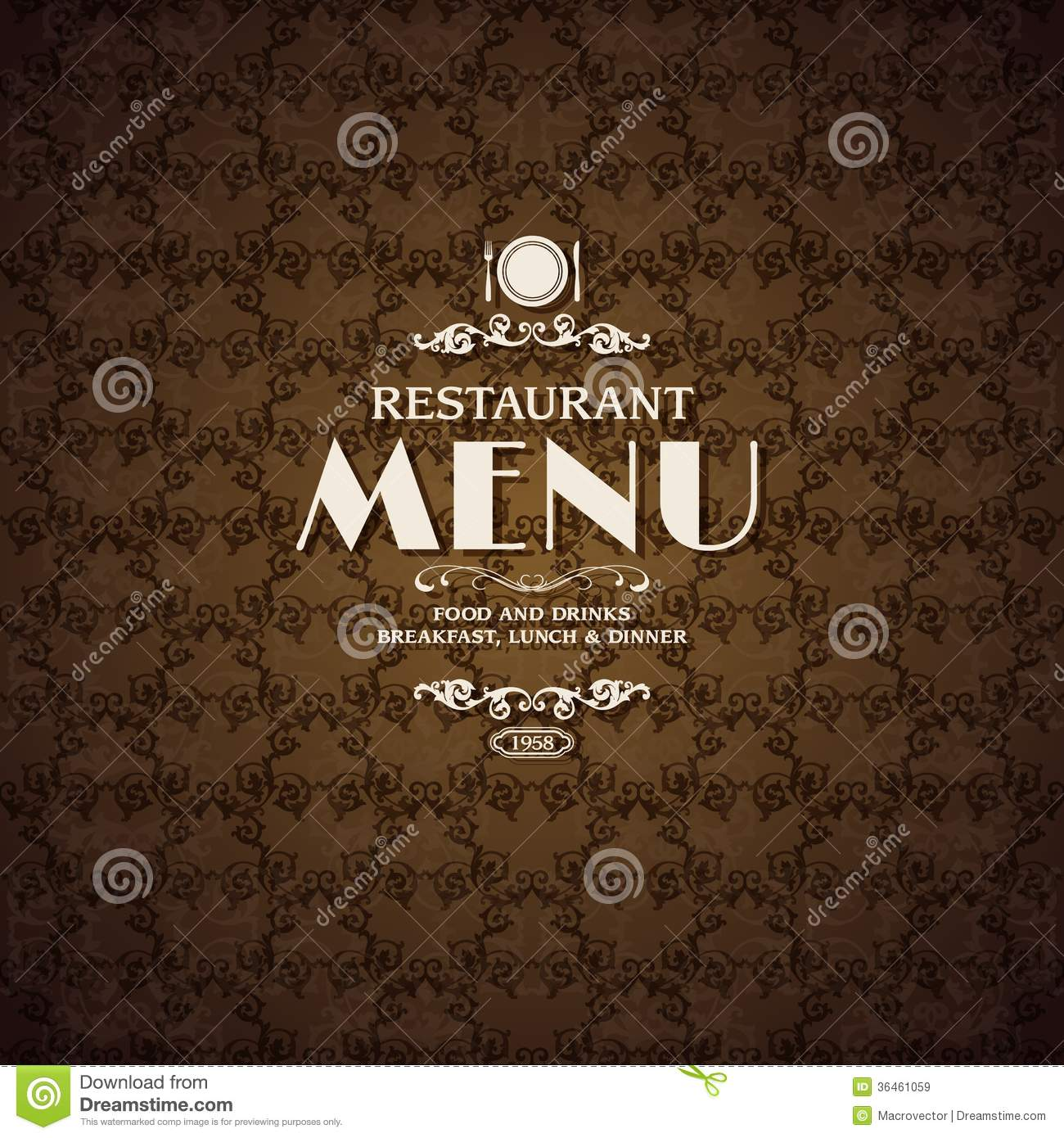 Restaurant cafe menu cover template stock vector image