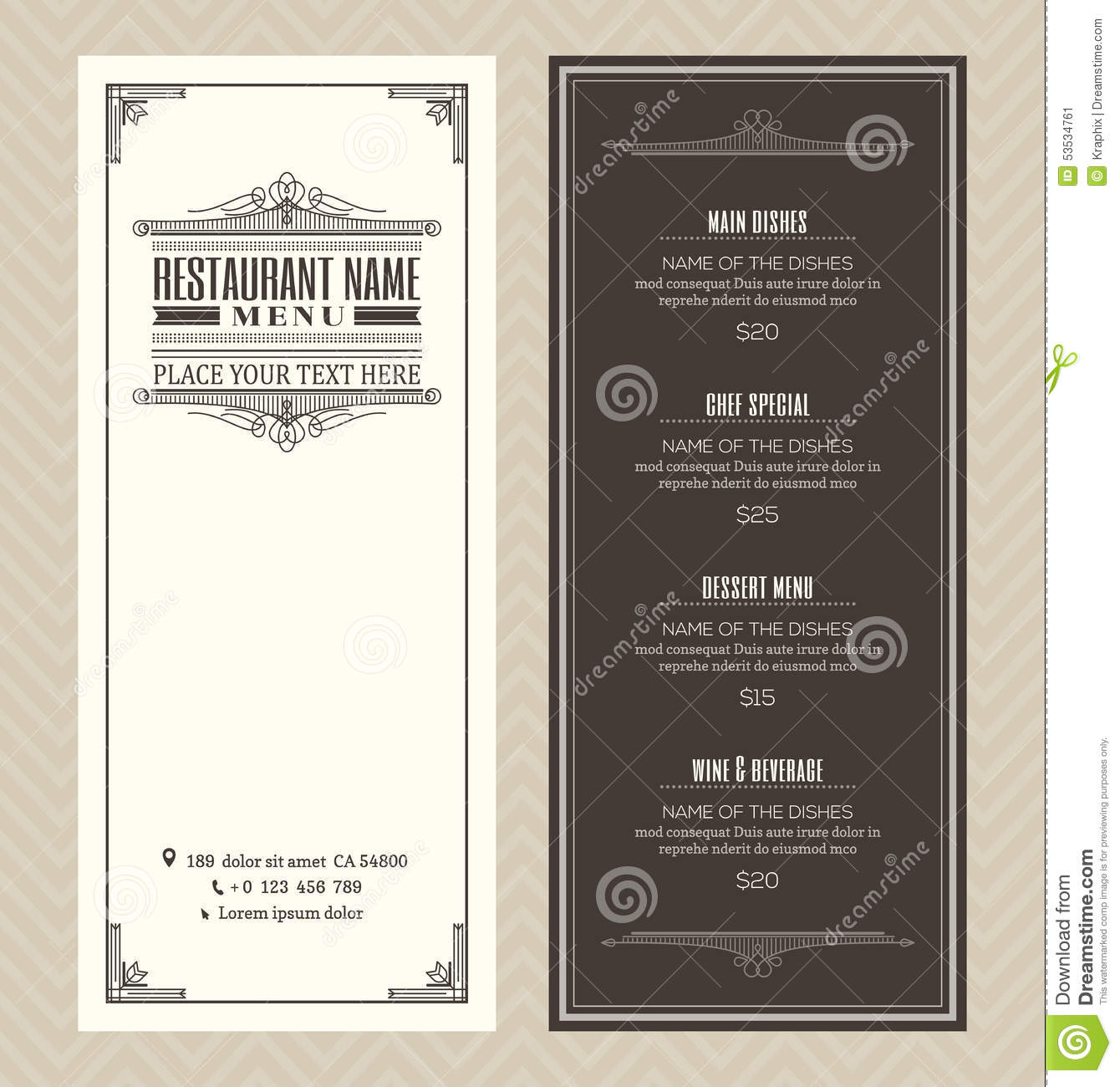 restaurant or cafe menu design template with vintage retro. Black Bedroom Furniture Sets. Home Design Ideas