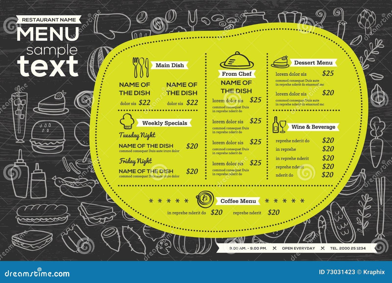 restaurant cafe menu template design food flyer stock vector