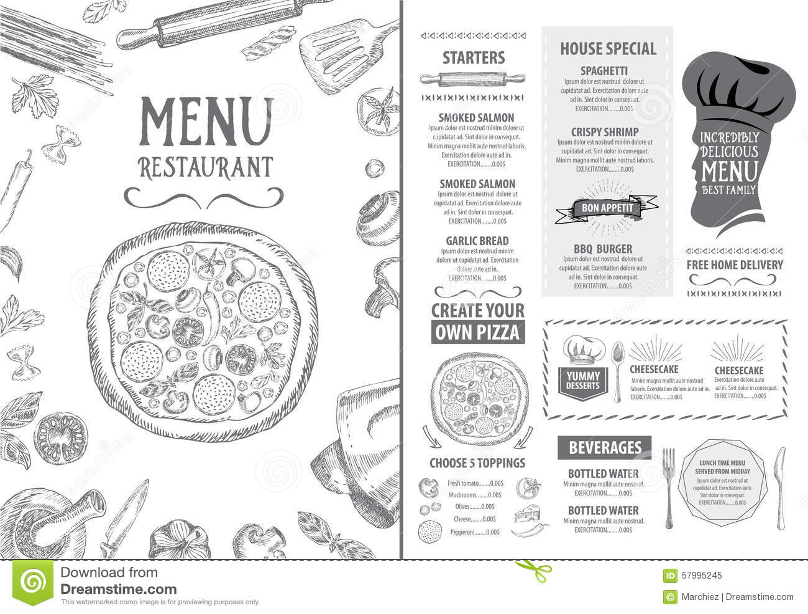 Restaurant cafe menu template design food flyer stock