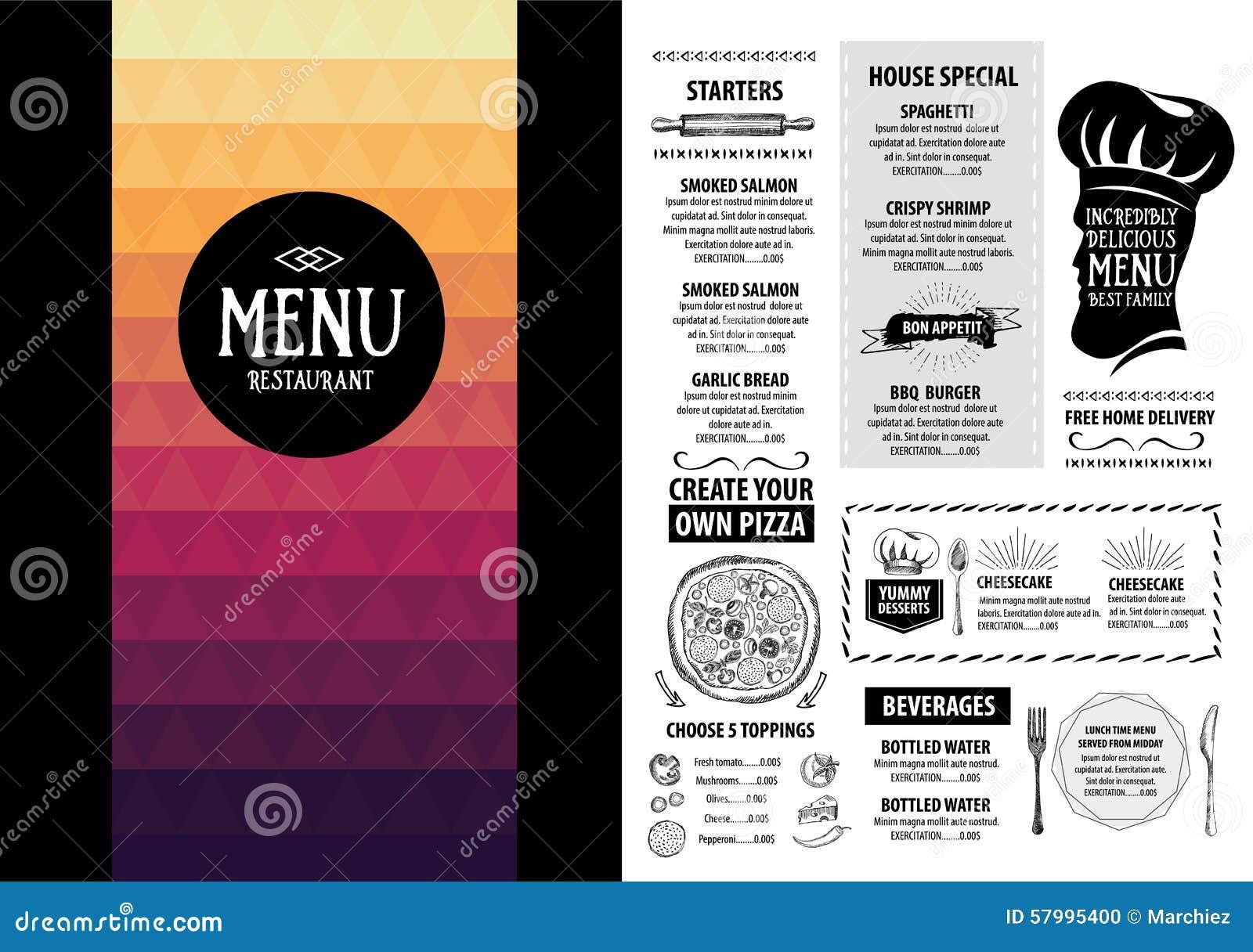 Restaurant Cafe Menu Template Design Vector Image 67469378 – Cafe Menu Template
