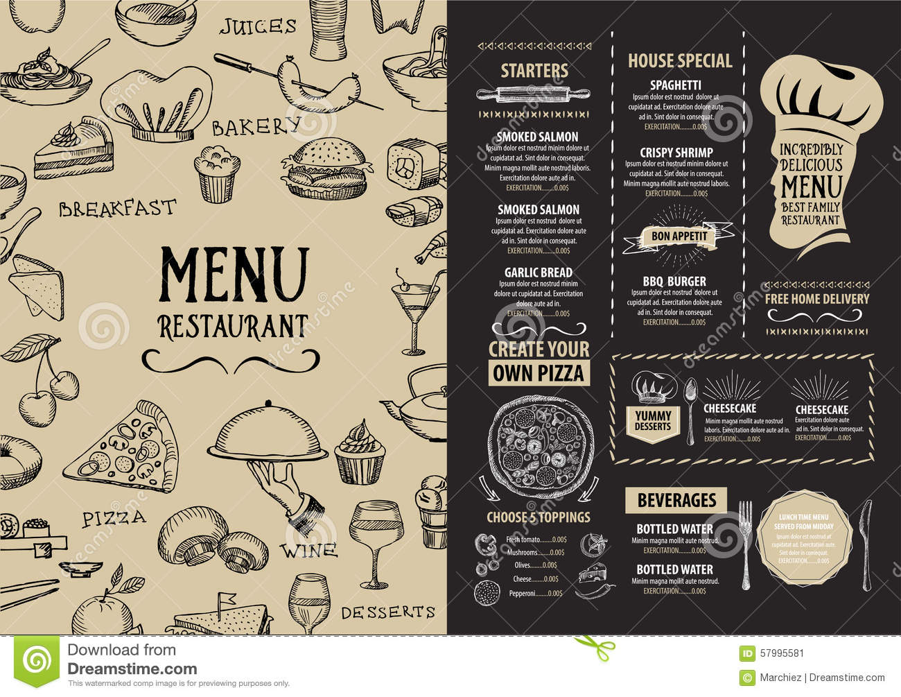 cafe brochure design - restaurant cafe menu template design food flyer stock