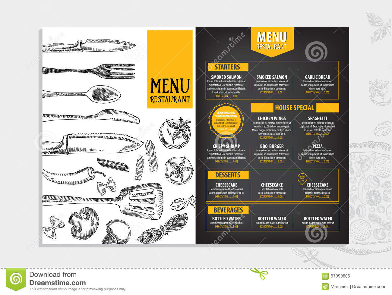 Restaurant Cafe Menu, Template Design. Food Flyer. Drawing, Drinks.  Free Downloadable Restaurant Menu Templates