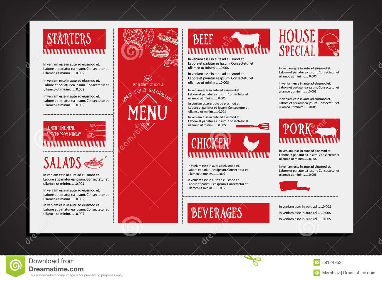 Restaurant cafe menu template design food flyer cartoon