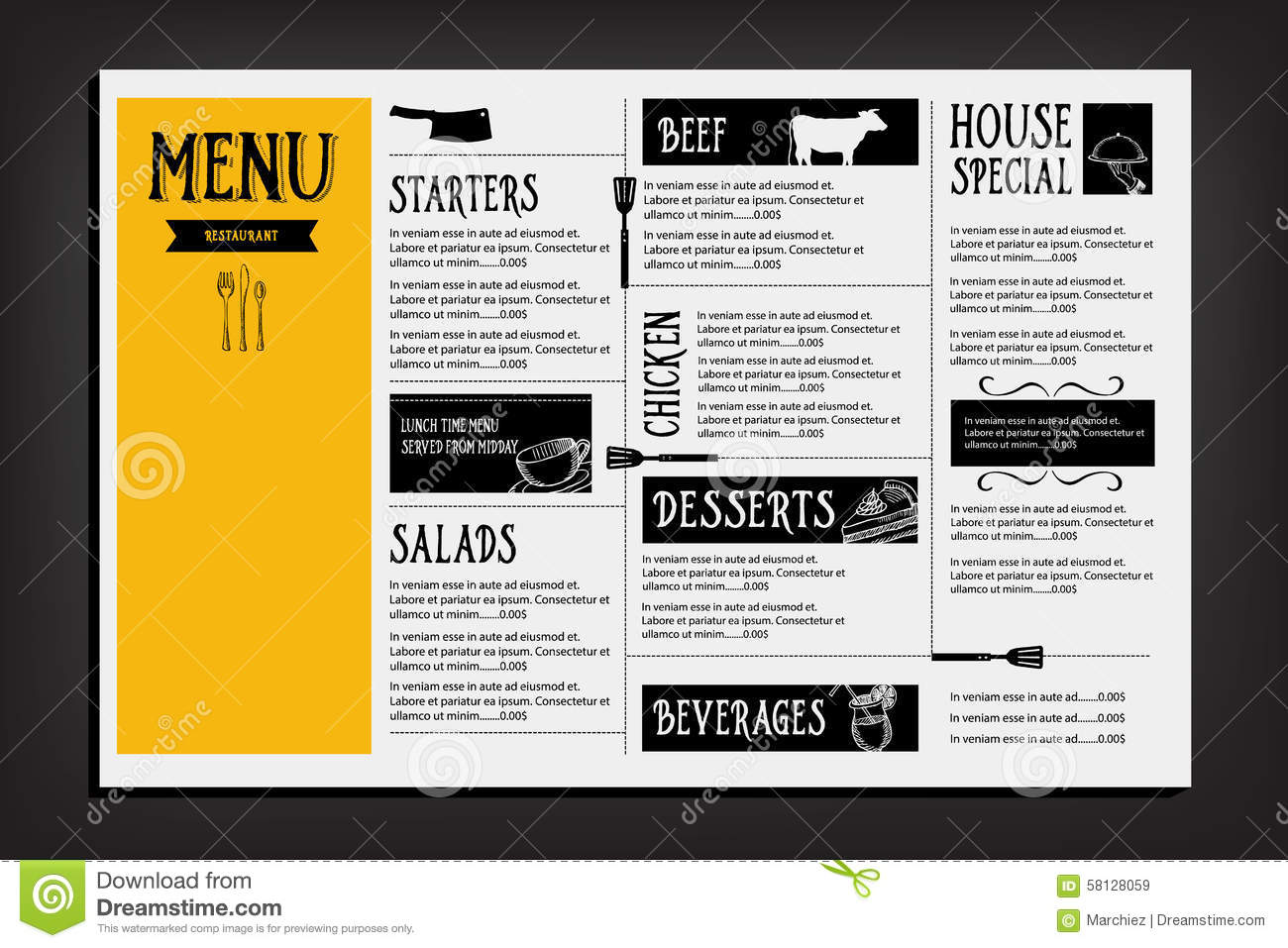 Restaurant cafe menu template design food flyer stock
