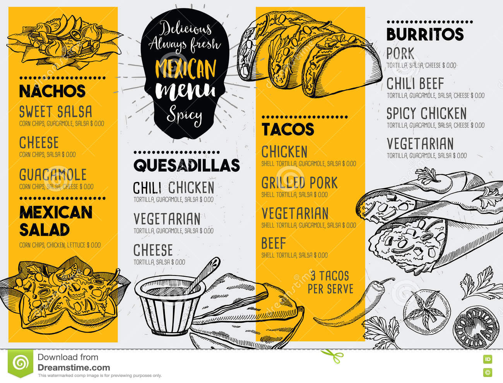 restaurant cafe menu template design stock vector illustration
