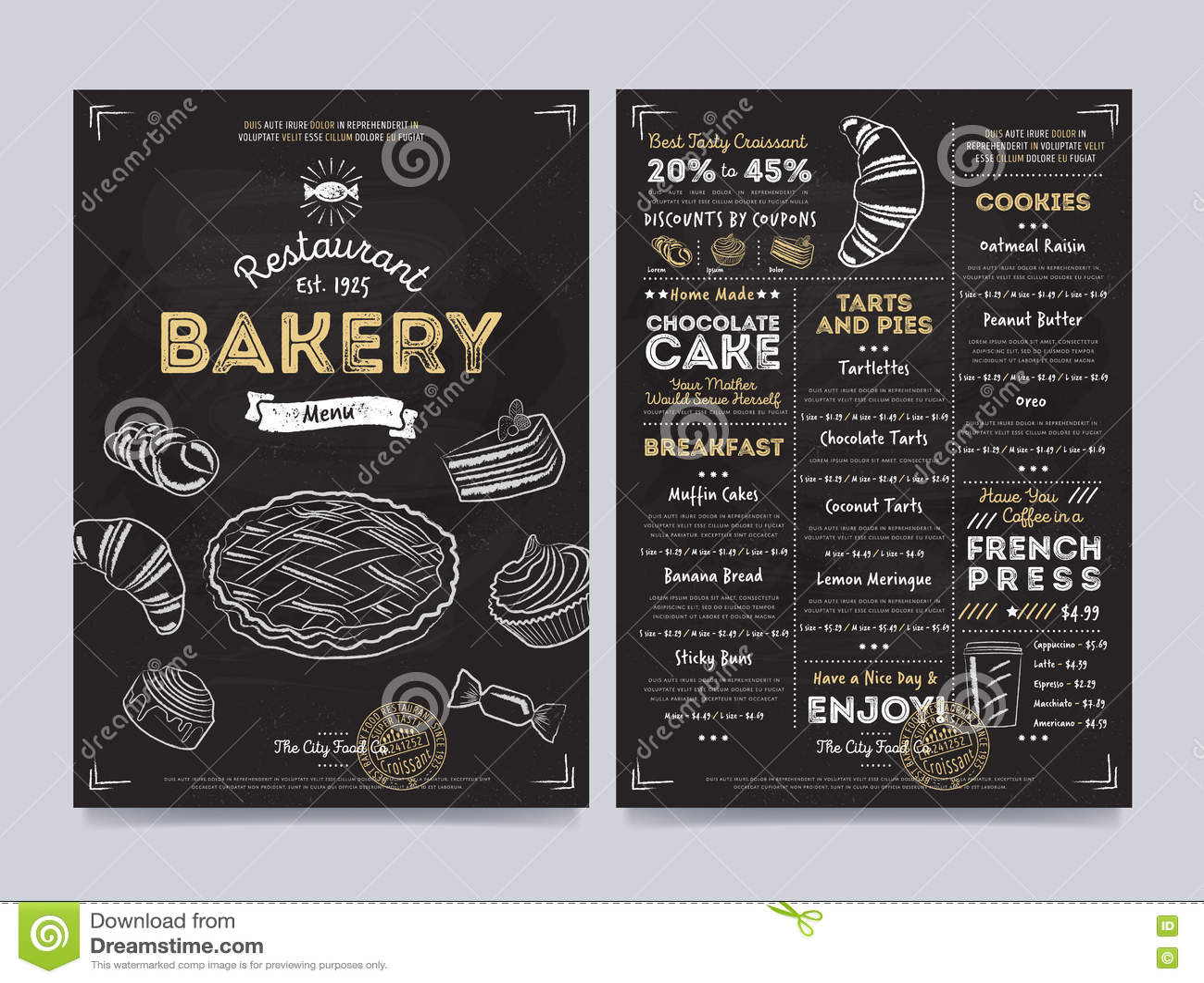 restaurant cafe menu template design  vector stock vector
