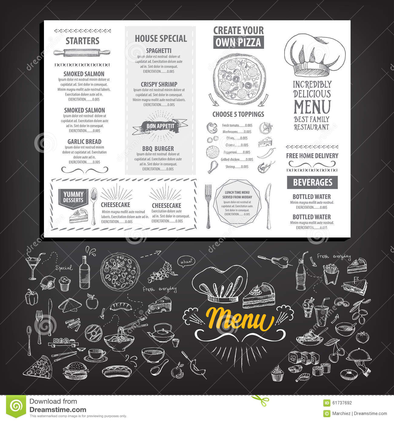 Restaurant cafe menu template design stock vector