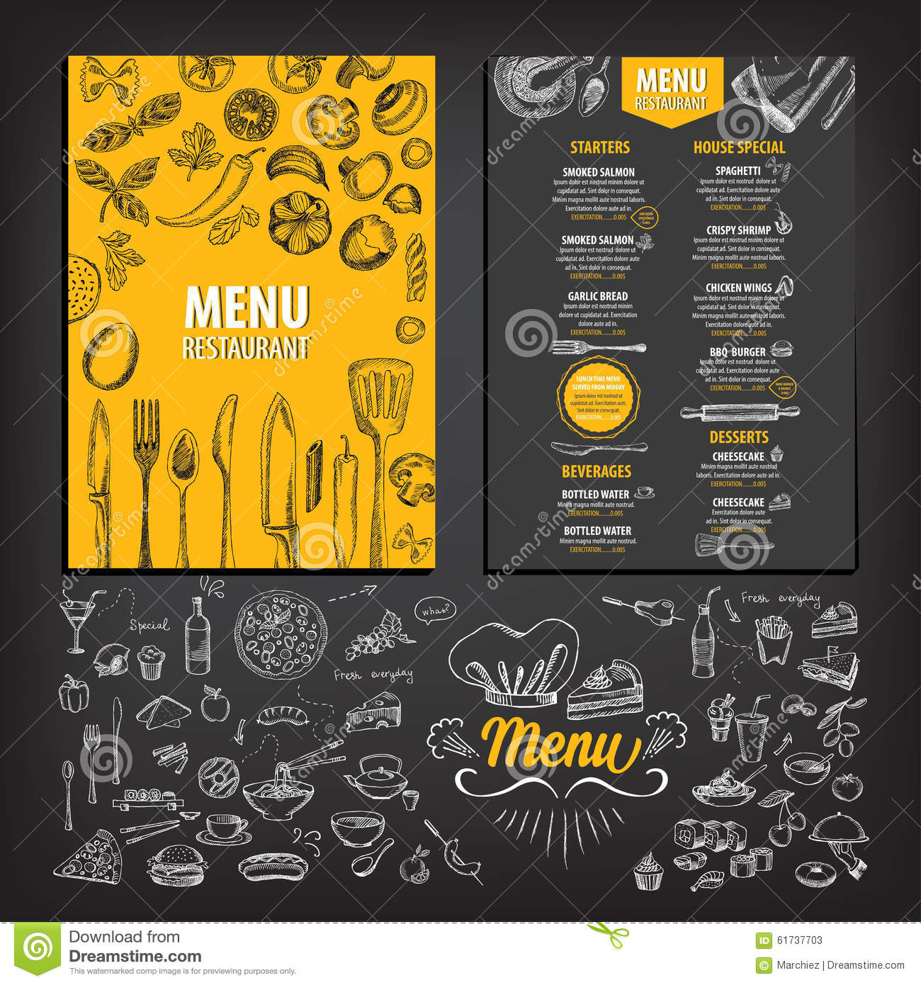 Restaurant Cafe Menu, Template Design. Stock Vector - Image: 61737703