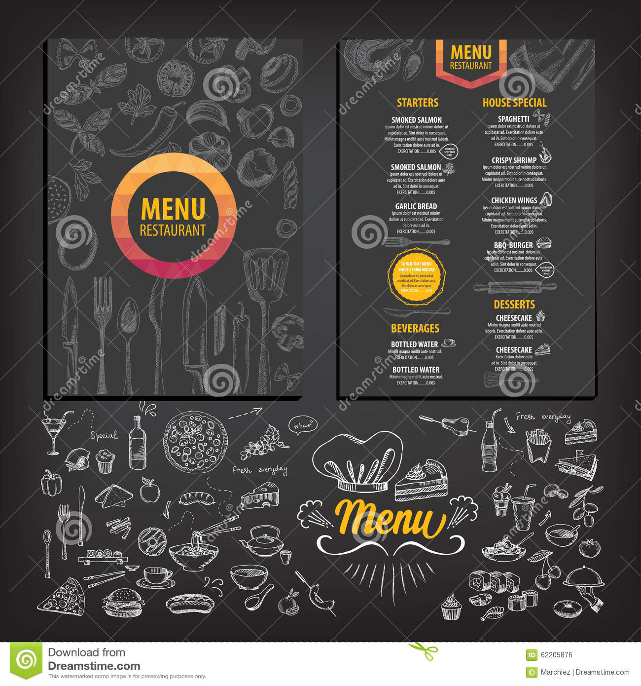 Cafe menu with hand drawn design fast food restaurant