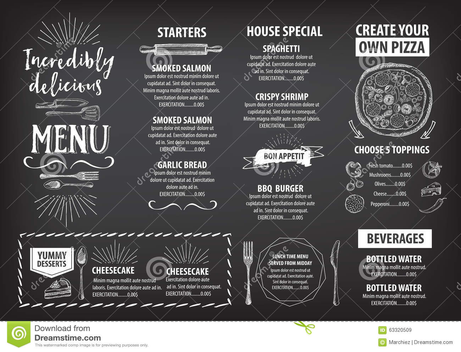 Restaurant Cafe Menu Template Design Vector Image 63320509 – Cafe Menu Template