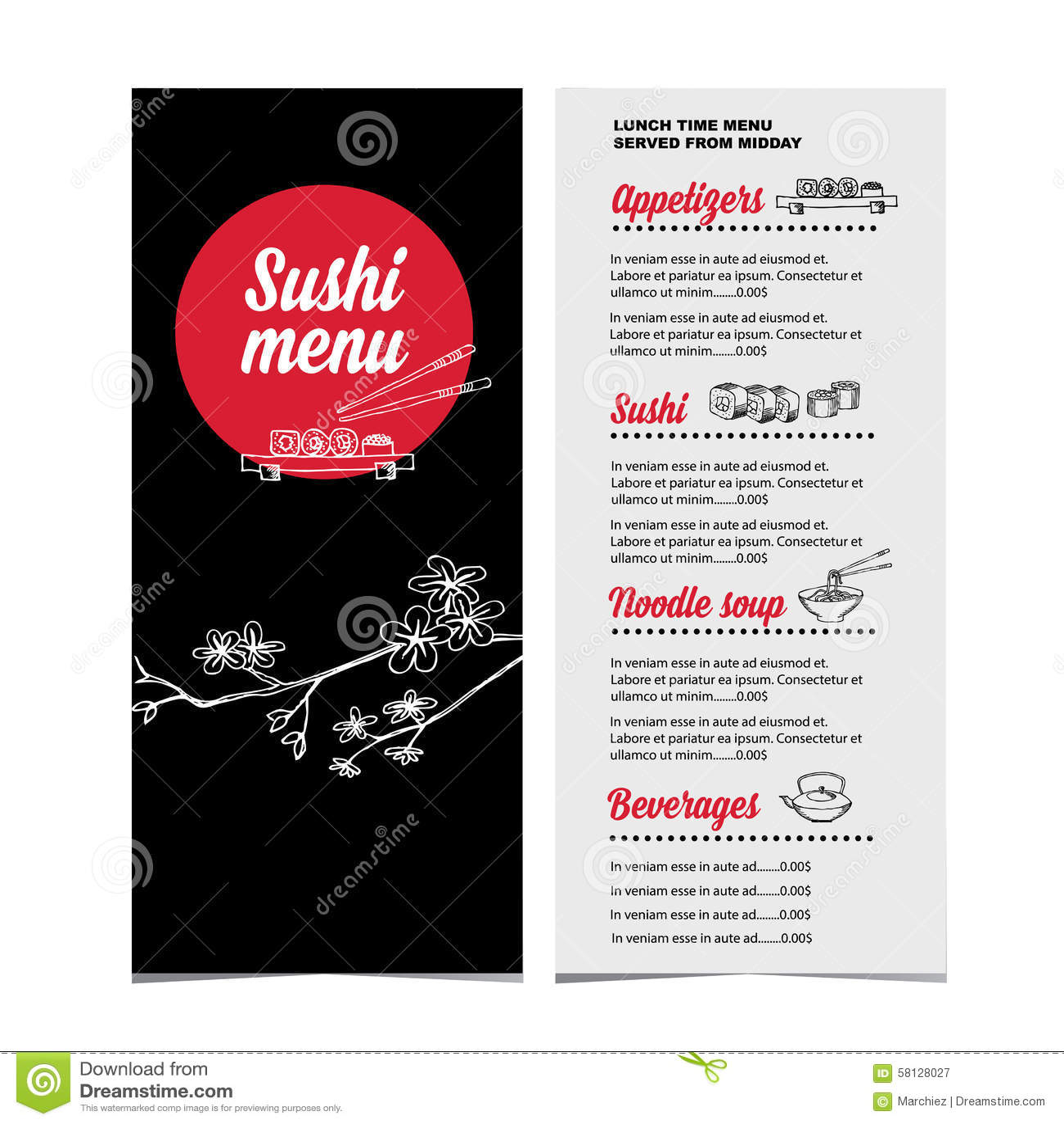 Restaurant cafe menu template design vector illustration