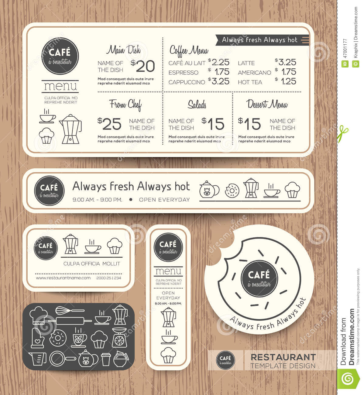 Restaurant cafe set menu graphic design template stock