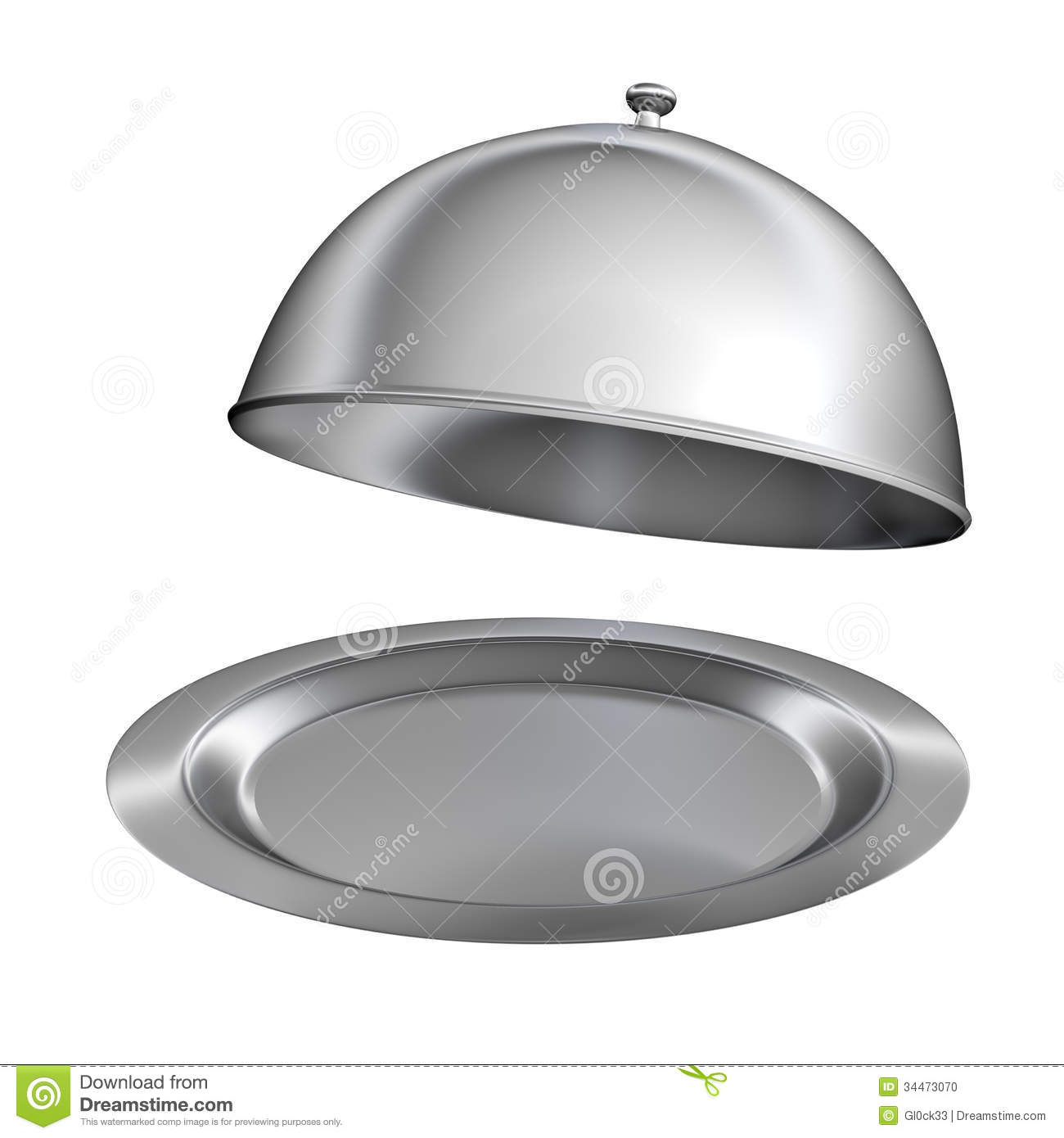 Restaurant Cloche With Open Lid Stock Illustration Image