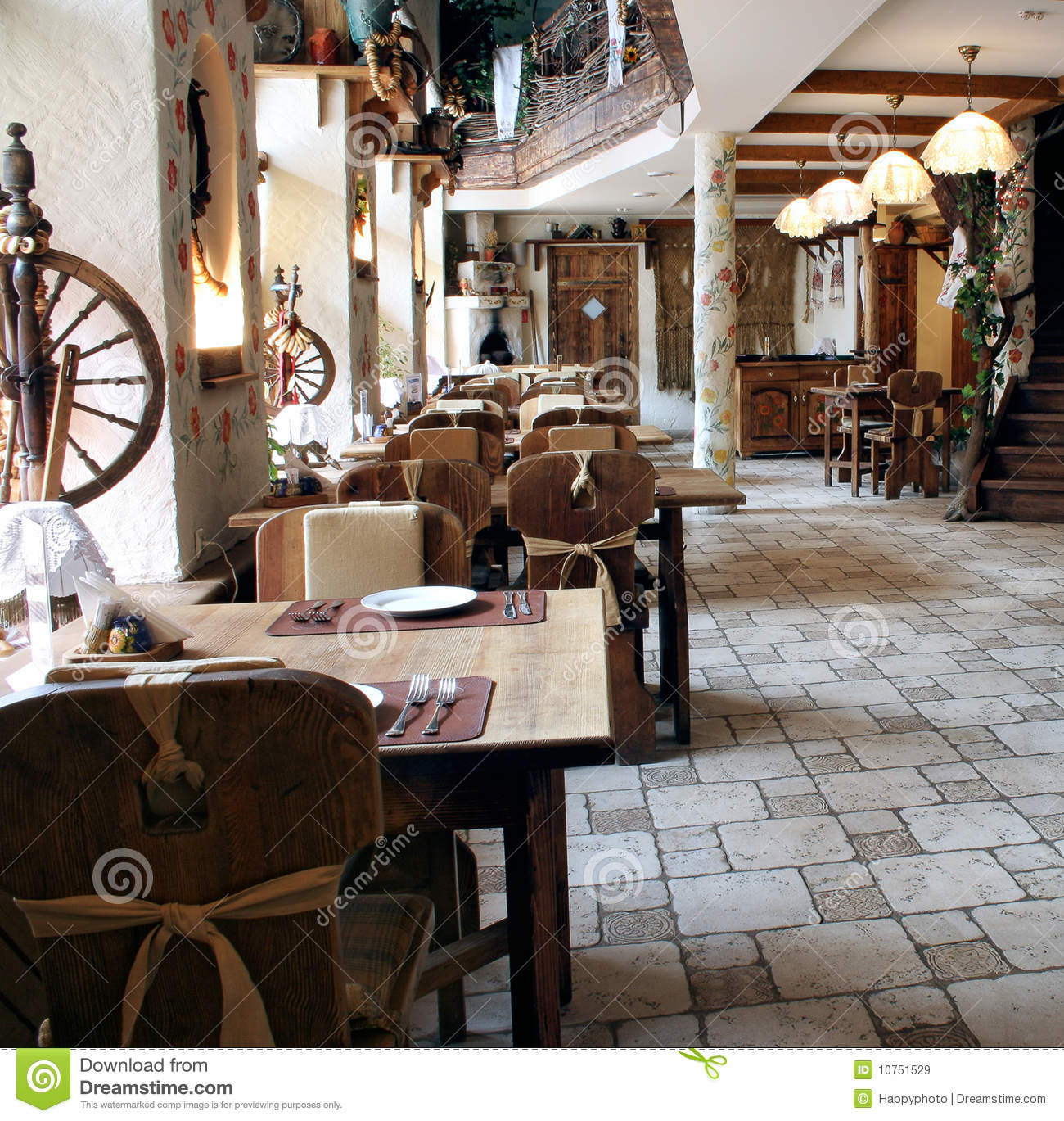 Restaurant in country style stock image of chairs