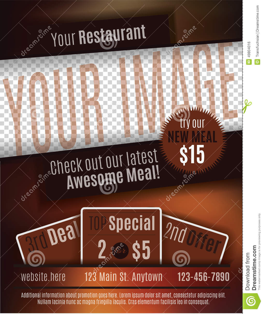Restaurant coupon flyer template stock vector image