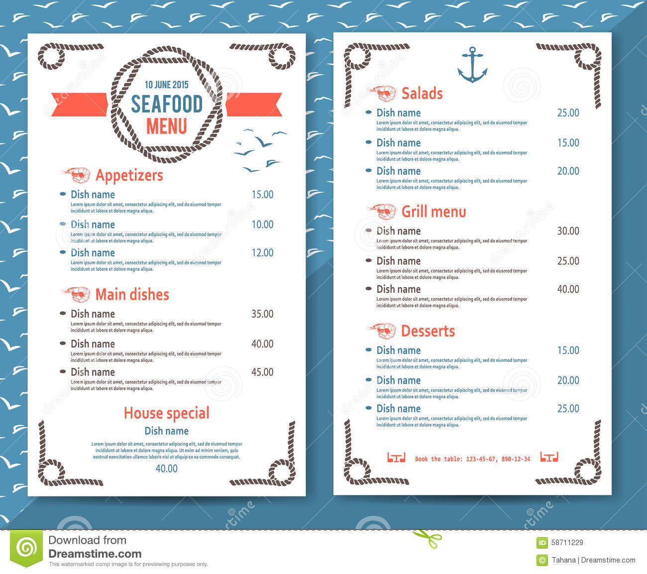 restaurant de fruits de mer ou menu élégant et simple de café