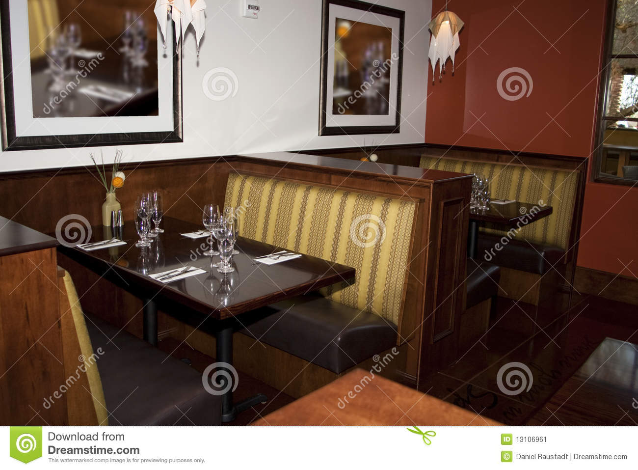 restaurant dining booth tables stock image image 13106961. Black Bedroom Furniture Sets. Home Design Ideas