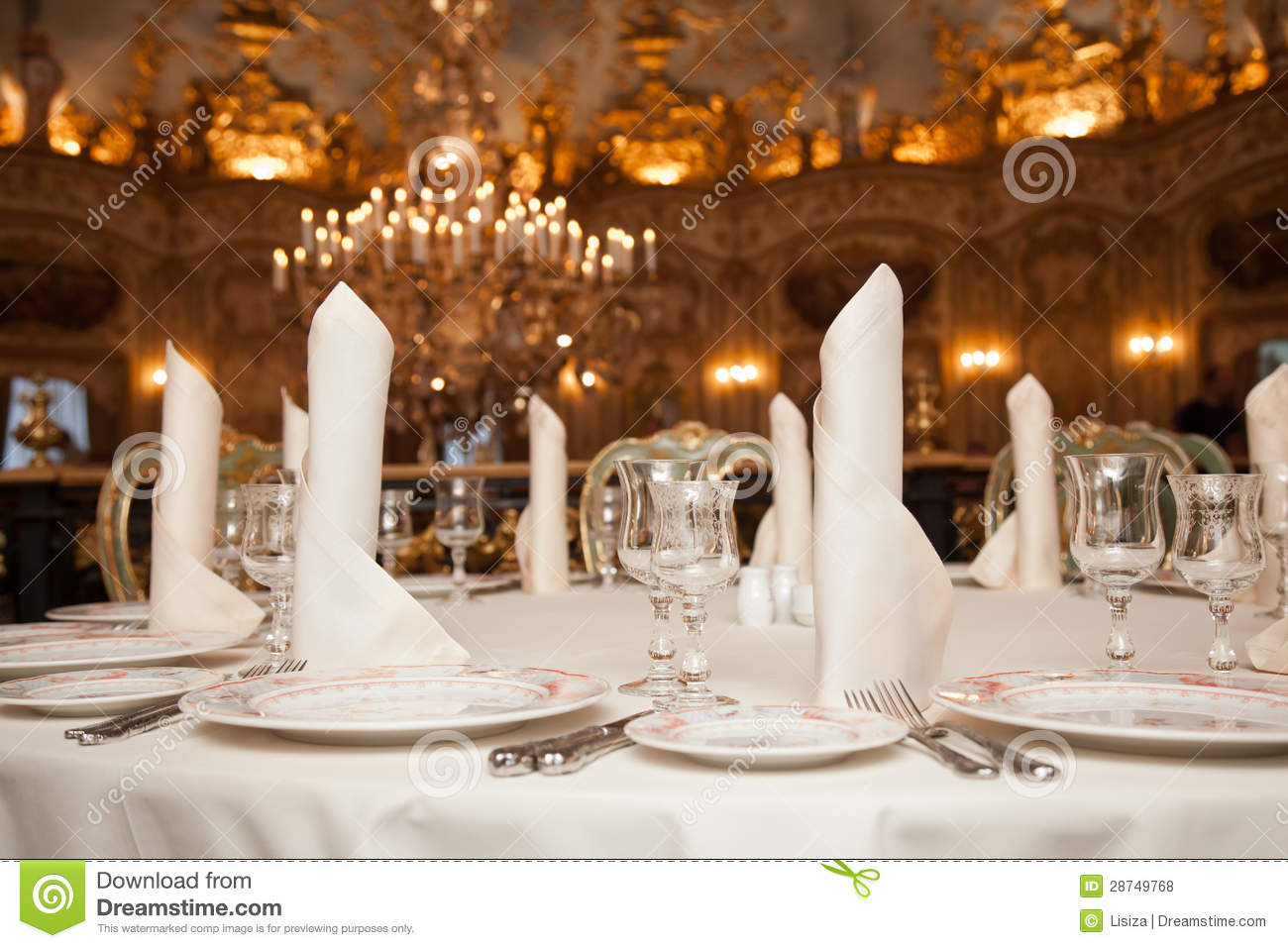 Restaurant Dinner Table Place Setting: Napkin, Wineglass, Plate Royalty  Free Stock Photos