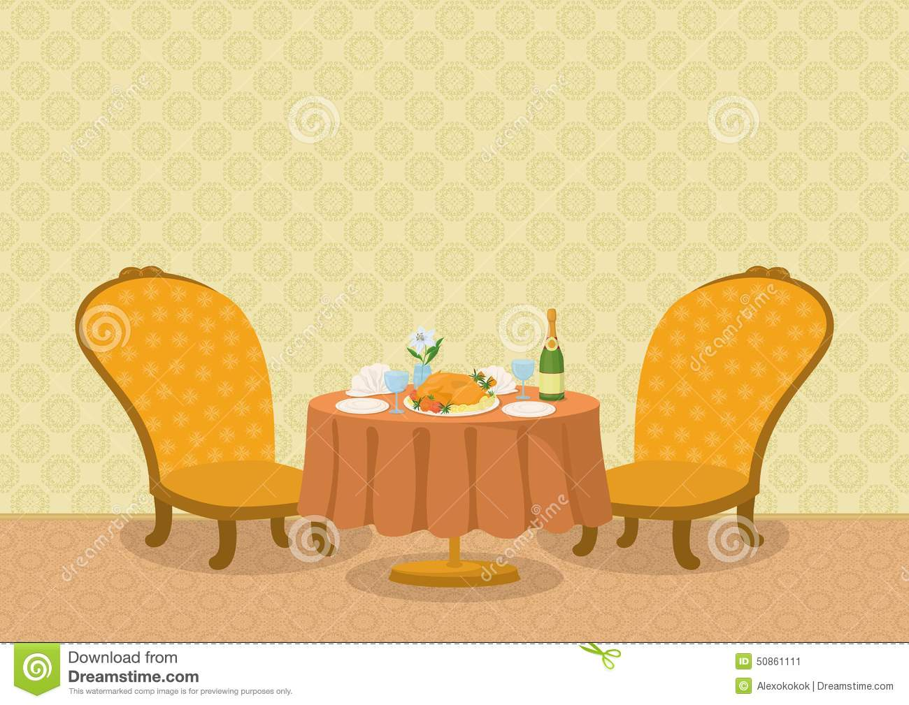 Restaurant tables and chairs clipart - Restaurant With Dishes On Table Stock Vector