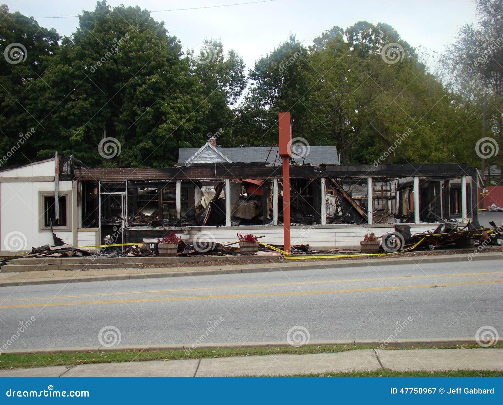 Restaurant door belangrijke brand wordt vernietigd die