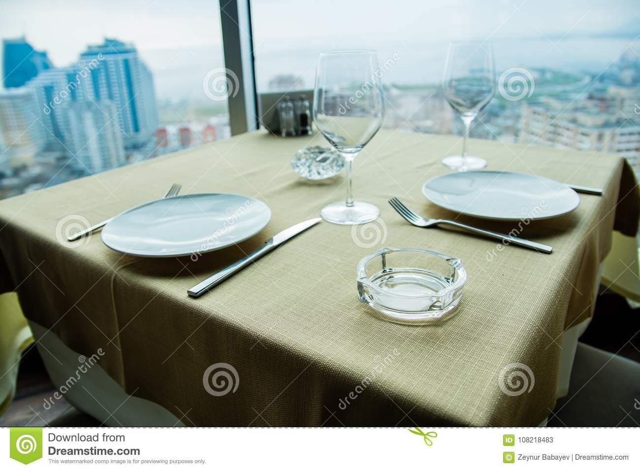 Restaurant Empty Table For Two With Large Window View Stock Image - Table for two restaurant