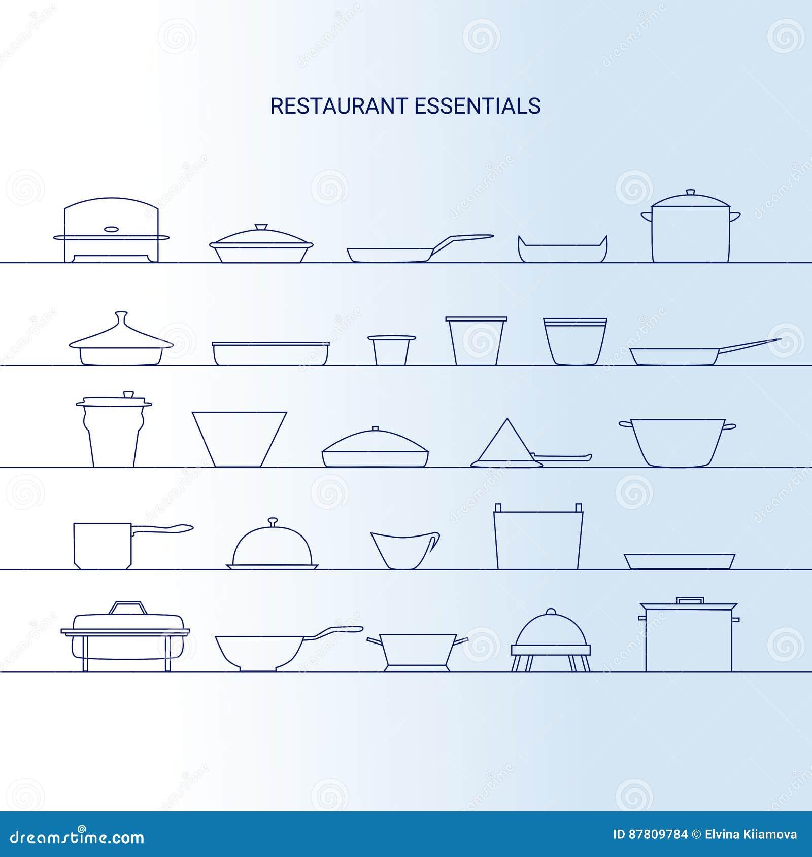 Restaurant essentials icon set