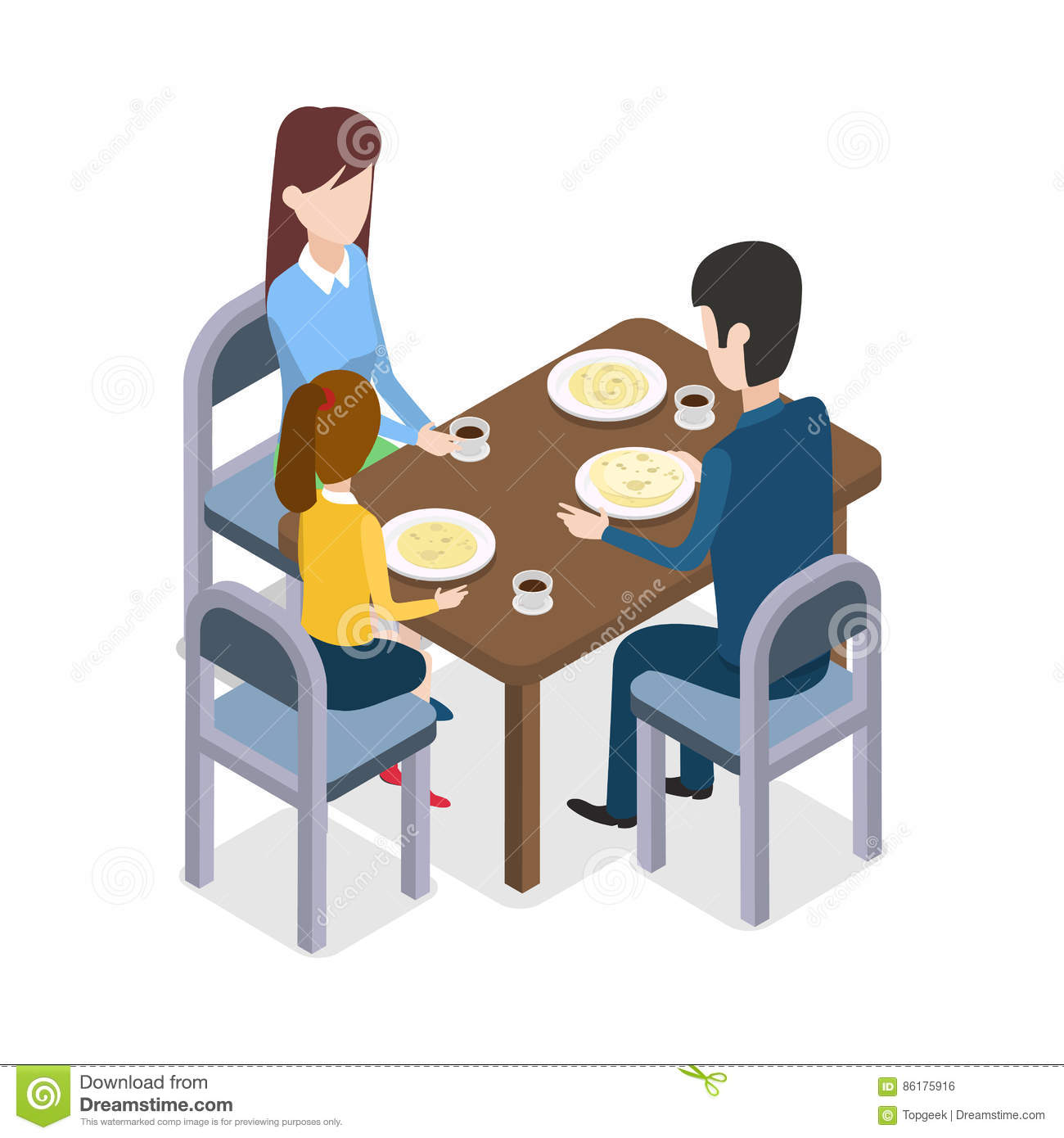 At restaurant family sitting at dining table stock vector for Pokerstars tisch design download
