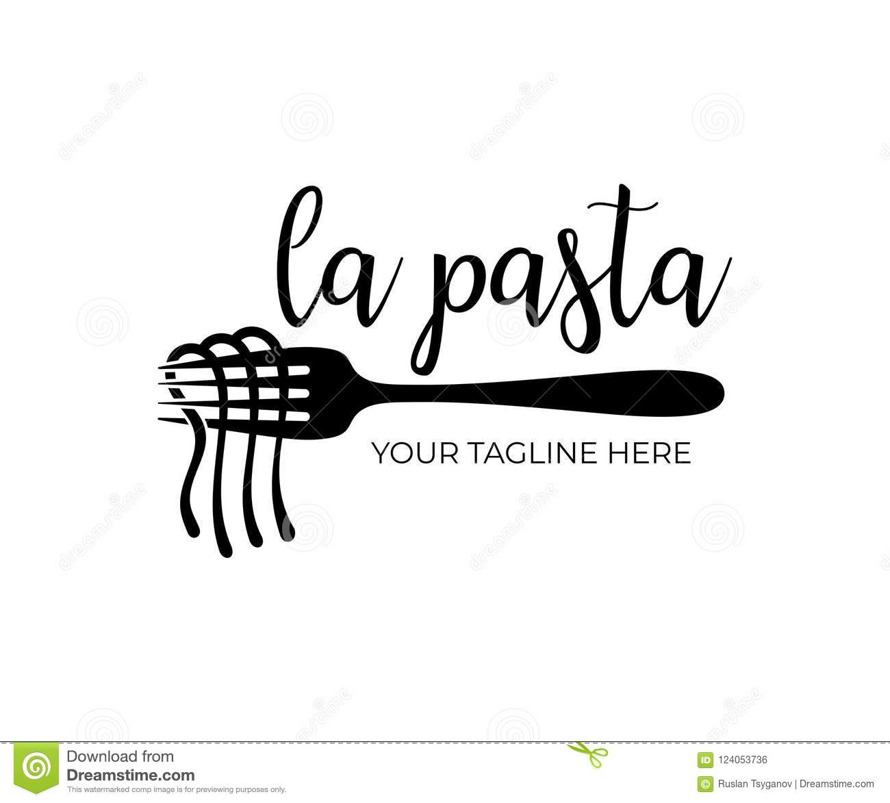 Restaurant And Fast Food Spaghetti Noodles And Pasta With Fork Logo Design Vector Design Stock Vector Illustration Of Asian Cooked 124053736