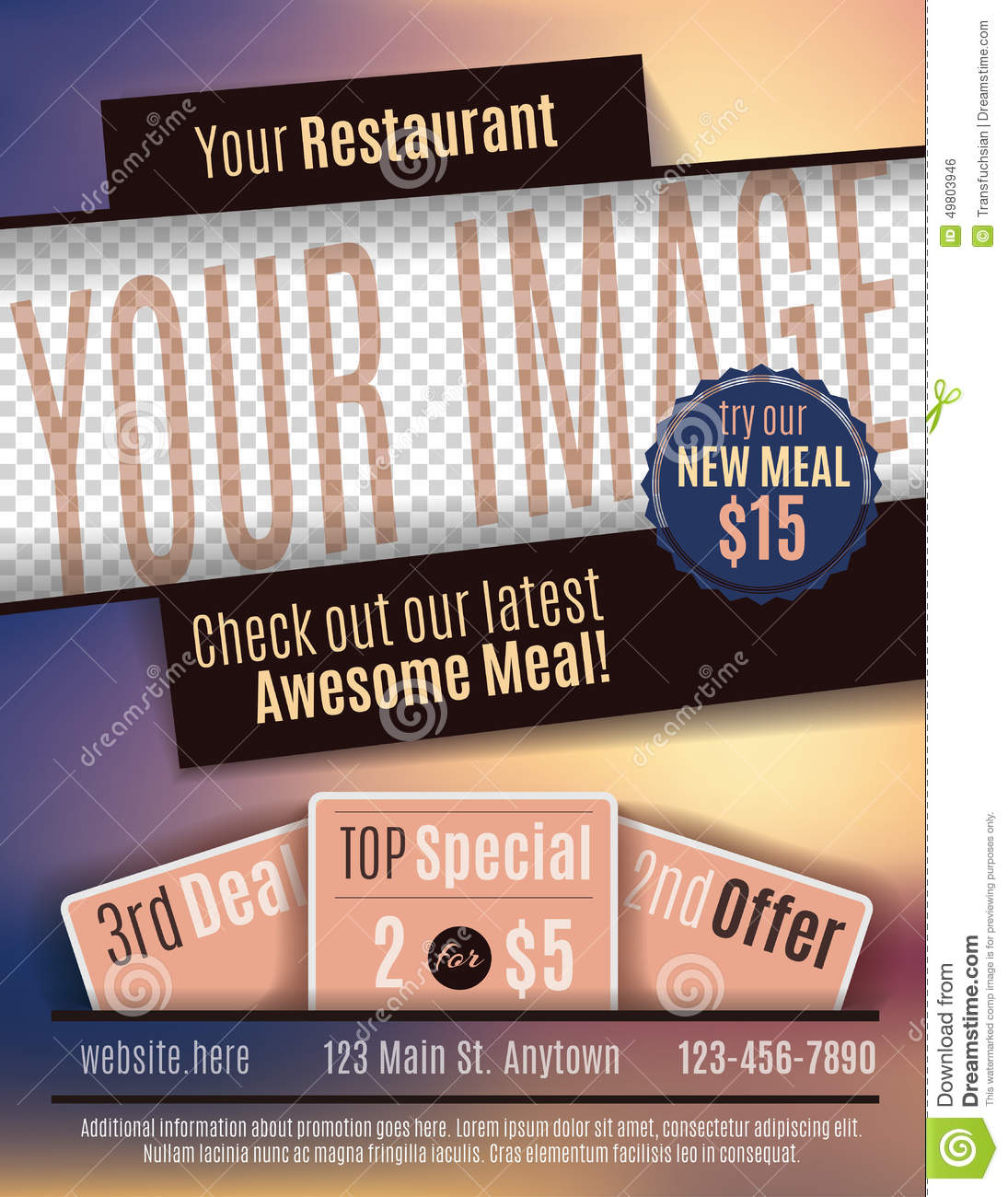 Restaurant Flyer Advertisement Template Stock Vector - Image: 49803946