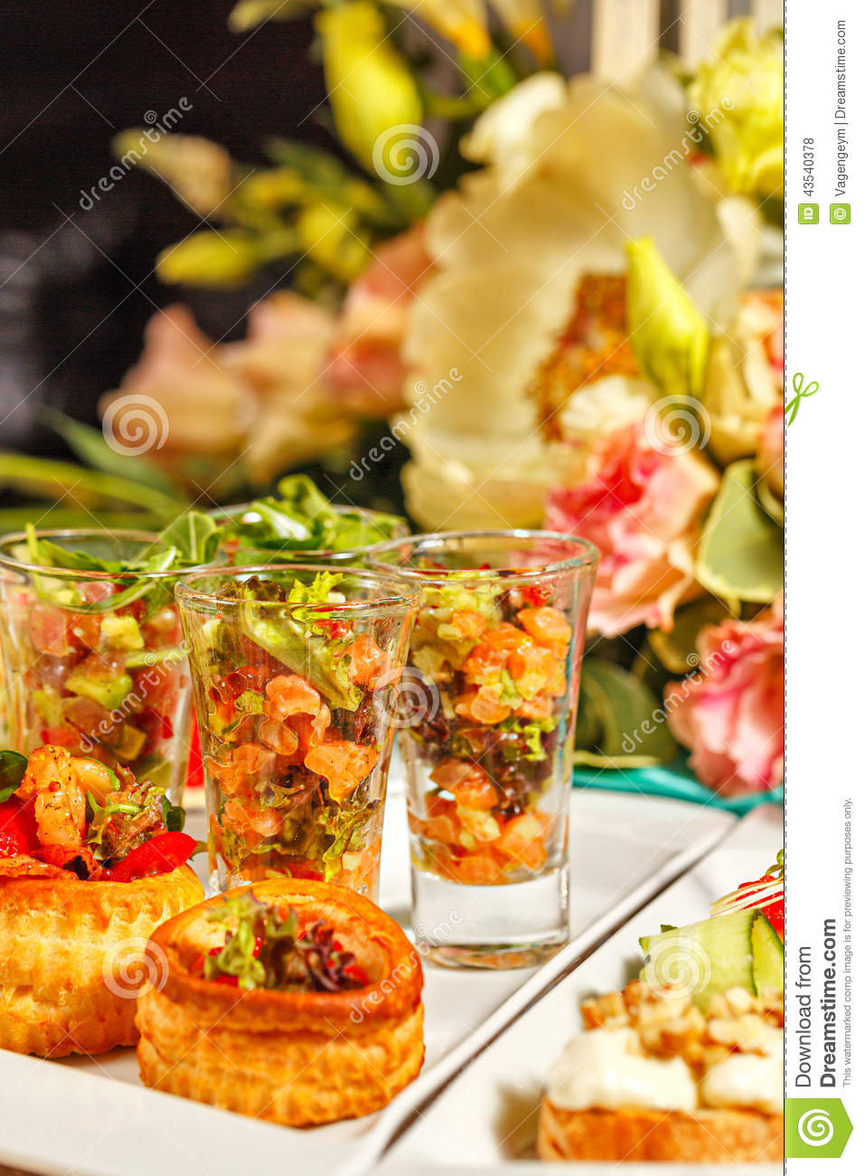Restaurant food canapes appetizers stock photo image for Canape restaurant