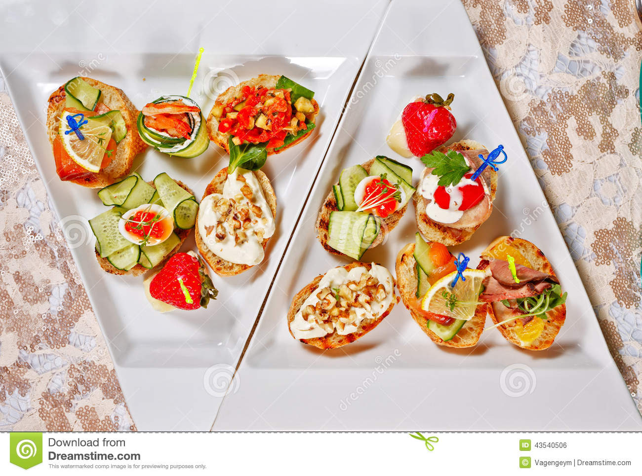 Restaurant food canapes appetizers stock photo image for Canape wraps