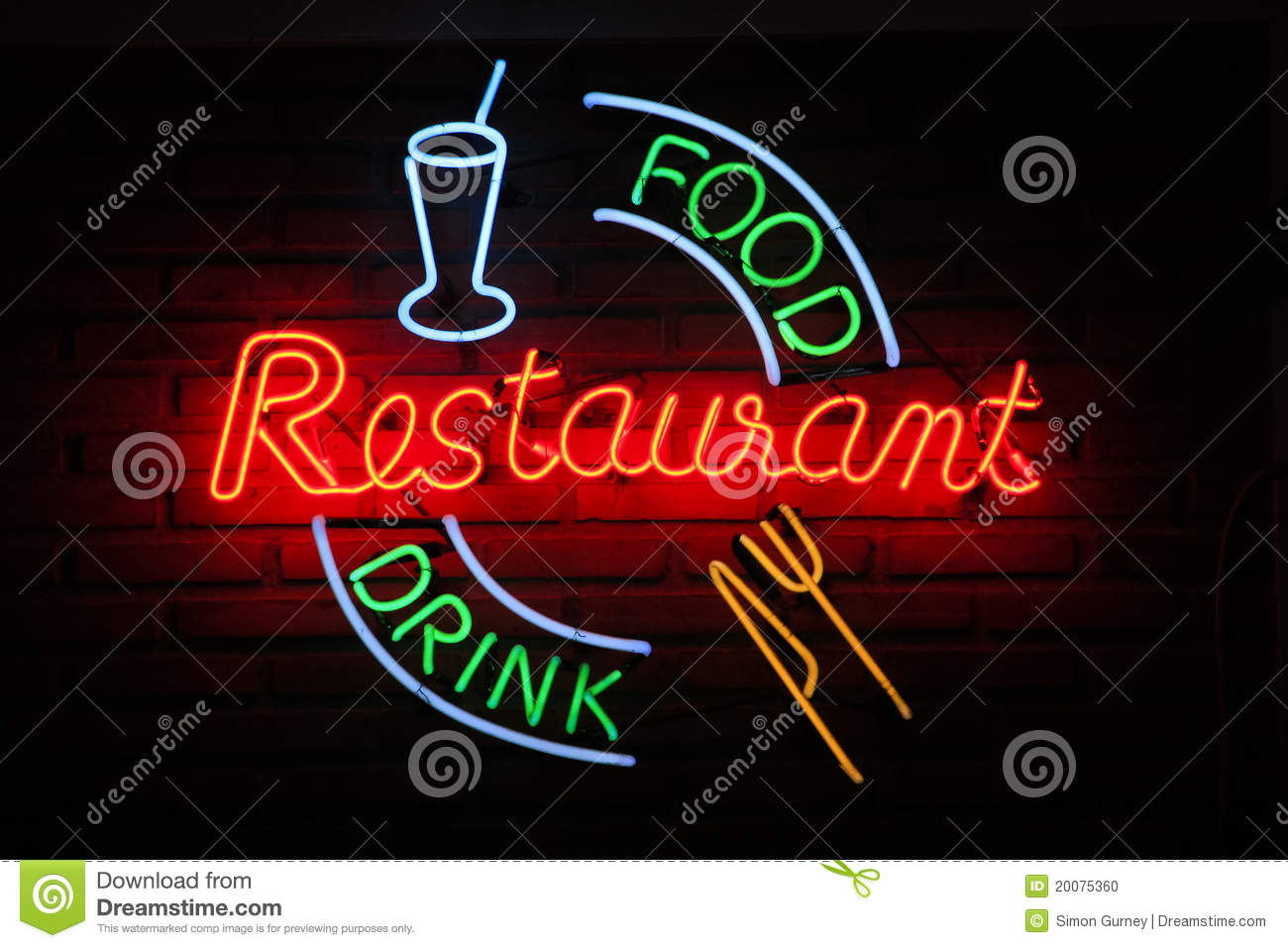 retro restaurant food drink neon wall sign background stock photo image 20075360. Black Bedroom Furniture Sets. Home Design Ideas